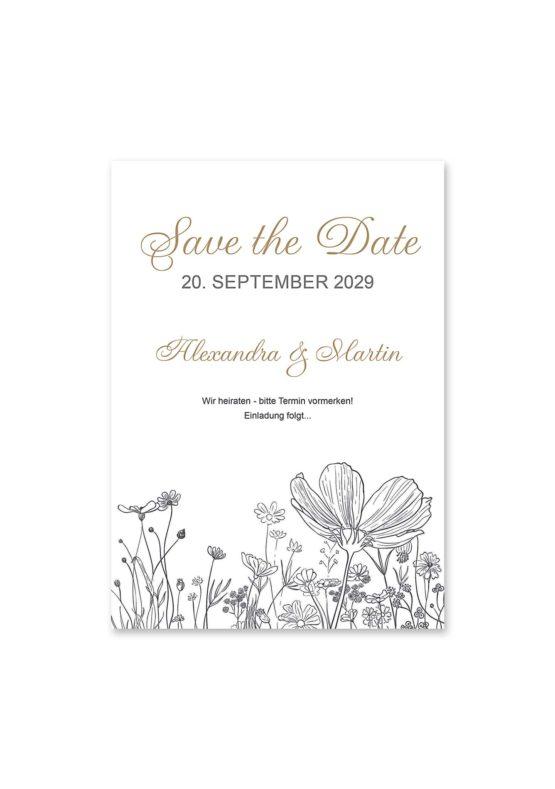 save the date blumen vintage grau gold hochzeitsgrafik onlineshop papeterie