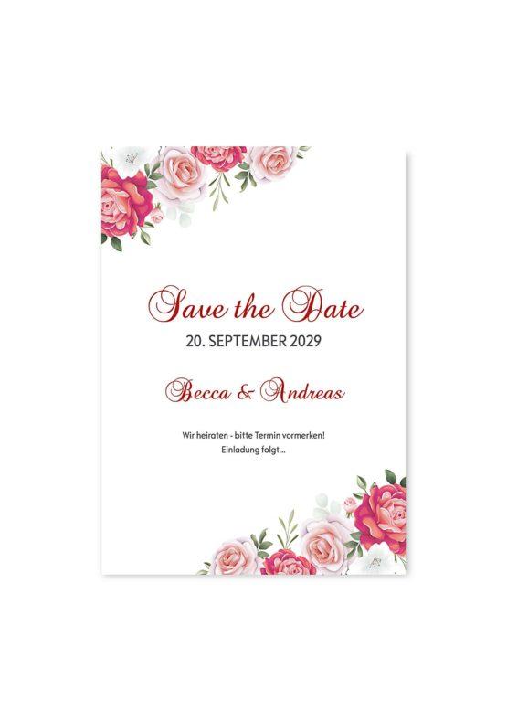 save the date blumen rosen rosa pink grün vintage hochzeitsgrafik onlineshop papeterie