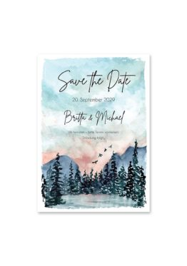 save the date vintage landschaft aquarell winter blau rosa grau hochzeitsgrafik onlineshop papeterie