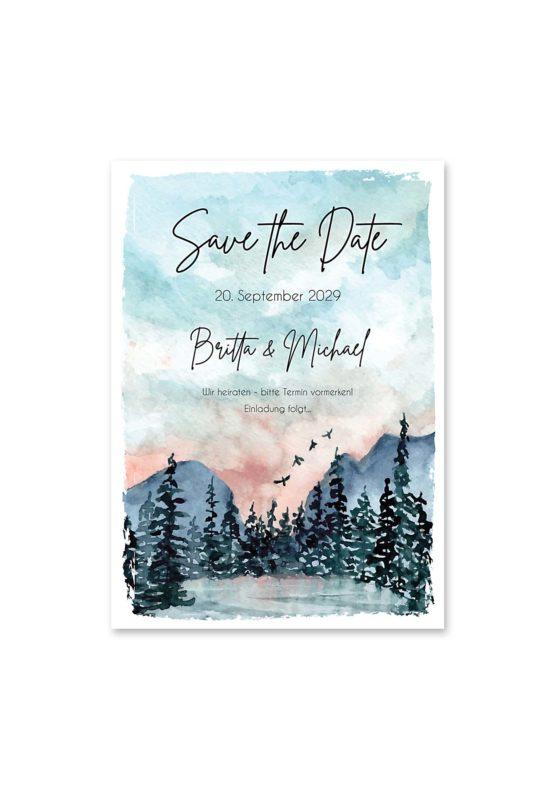 save the date vintage landschaft aquarell winter blau rosa grau hochzeitsgrafik onlineshop papeterie