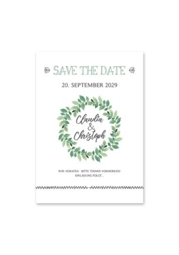 save the date vintage blumenkranz grün greenery watercolor hochzeitsgrafik onlineshop papeterie