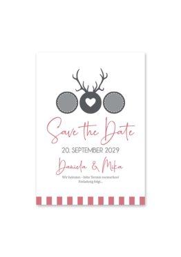 save the date vintage tracht hirsch rosa grau hochzeitsgrafik onlineshop papeterie