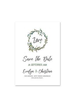 save the date vintage blumen kranz greenery grün eucalyptus hochzeitsgrafik onlineshop papeterie