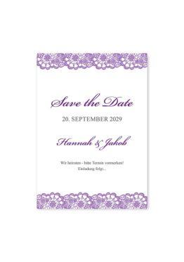 save the date vintage spitze bordüre flieder lila hochzeitsgrafik onlineshop papeterie