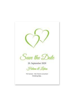 save the date vintage herz herzen doppelherz liebe grün hochzeitsgrafik onlineshop papeterie