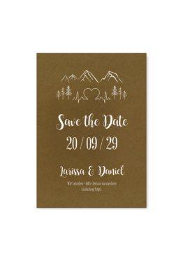 save the date vintage kraft kraftpapier braun weiß weißdruck berge logo hochzeitsgrafik onlineshop papeterie