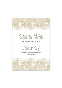 save the date vintage spitze bordüre braun hochzeitsgrafik onlineshop papeterie