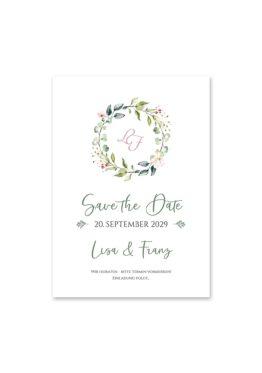 save the date vintage blumenkranz grün rosa eucalyptus logo monogramm hochzeitsgrafik onlineshop papeterie