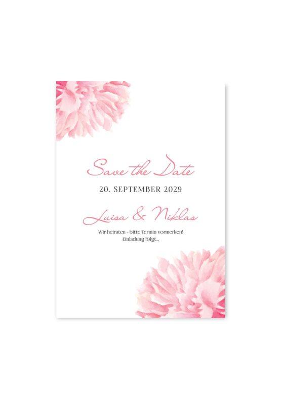 save the date vintage blumen pfingstrosen rosa aquarell acyrl malerei hochzeitsgrafik onlineshop papeterie