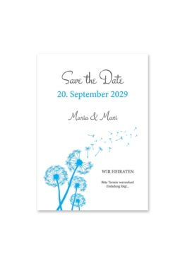 save the date pusteblume blume cyan blitzblau hochzeitsgrafik onlineshop papeterie