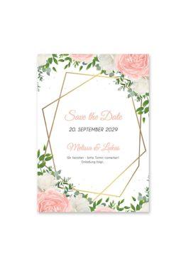 save the date elegant rosen rosa weiß grün geometrie gold hochzeitsgrafik onlineshop papeterie