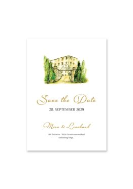 save the date vintage watercolor toskana villa tuscany gold aquarell acryl hochzeitsgrafik onlineshop papeterie