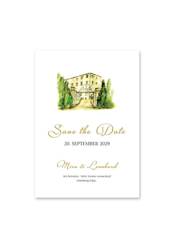 save the date vintage watercolor toskana villa tuscany gold aquarell acryl hochzeitsgrafik onlineshop papeterie