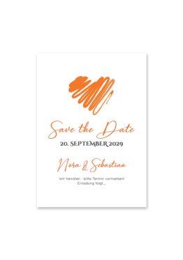 save the date vintage herz liebe orange hochzeitsgrafik onlineshop papeterie