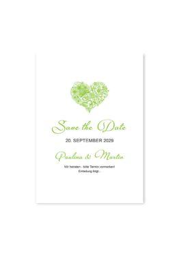 save the date elegant herz ornament grün stilvoll hochzeitsgrafik onlineshop papeterie