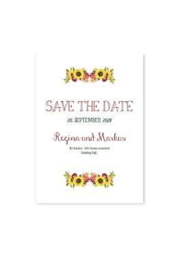 save the date vintage watercolor sonnenblume rot gelb aquarell acryl hochzeitsgrafik onlineshop papeterie
