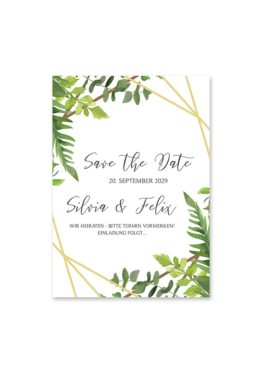 save the date vintage watercolor aquarell acryl greenery malerei geometrie rahmen gold hochzeitsgrafik onlineshop papeterie