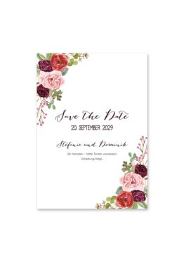 save the date vintage watercolor aquarell acryl blumen eucalyptus rosen rosa aubergine rot weinrot hochzeitsgrafik onlineshop papeterie