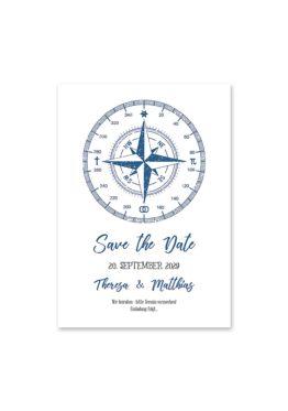 save the date vintage kompass reise reisen welt ziel nord süd ost west blau hochzeitsgrafik onlineshop papeterie