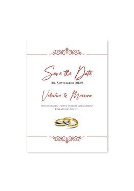 save the date elegant ornament rot ringe gold eheringe königlich kaiser hochzeitsgrafik onlineshop papeterie