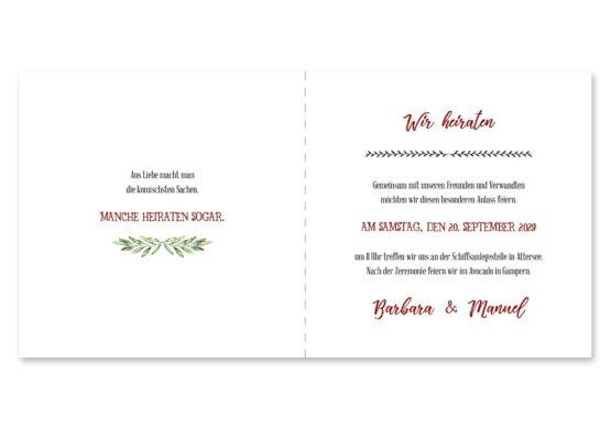 einladung vintage blumenkranz rot grün hochzeitsgrafik onlineshop papeterie