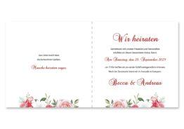 einladung blumen rosen rosa pink grün vintage hochzeitsgrafik onlineshop papeterie
