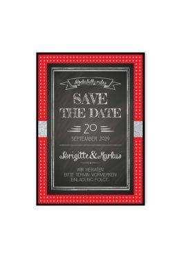 save the date rockabilly rot schwarz weiß polka dots hochzeitsgrafik onlineshop papeterie