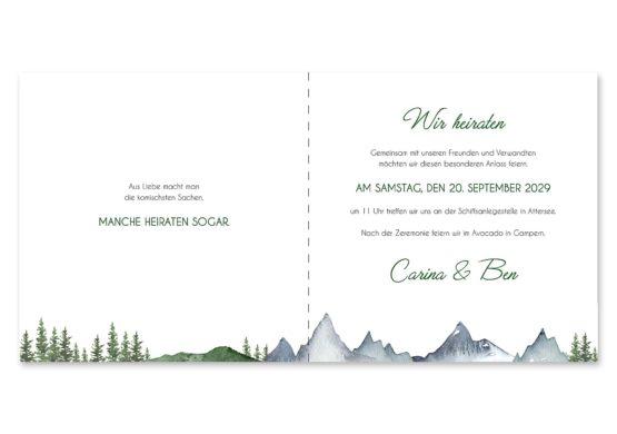 einladung vintage landschaft berg berge baum bäume aquarell hochzeitsgrafik onlineshop papeterie
