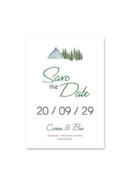 save the date vintage landschaft berg berge baum bäume aquarell hochzeitsgrafik onlineshop papeterie