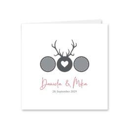 einladung vintage tracht hirsch rosa grau hochzeitsgrafik onlineshop papeterie
