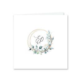 einladung vintage blumen kranz gold glitzer logo monogram hochzeitsgrafik onlineshop papeterie