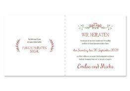 save the date vintage ornament pfeil rot grün hochzeitsgrafik onlineshop papeterie