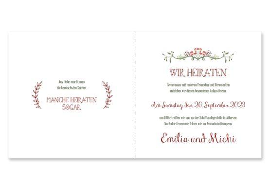einladung vintage ornament pfeil rot grün hochzeitsgrafik onlineshop papeterie