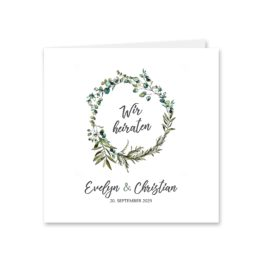 einladung vintage blumen kranz greenery grün eucalyptus hochzeitsgrafik onlineshop papeterie