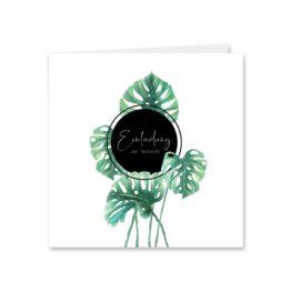 einladung vintage palme palmenblatt monstera grün hochzeitsgrafik onlineshop papeterie