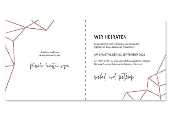 einladung elegant geometrie puristisch glitzer rose hochzeitsgrafik onlineshop papeterie