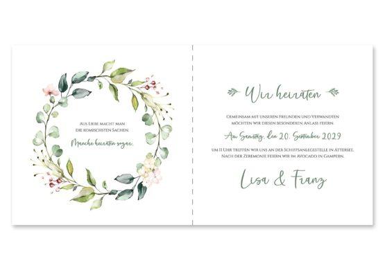 einladung vintage blumenkranz grün rosa eucalyptus logo monogramm hochzeitsgrafik onlineshop papeterie