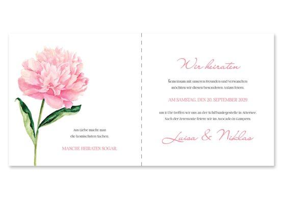 einladung vintage blumen pfingstrosen rosa aquarell acyrl malerei hochzeitsgrafik onlineshop papeterie