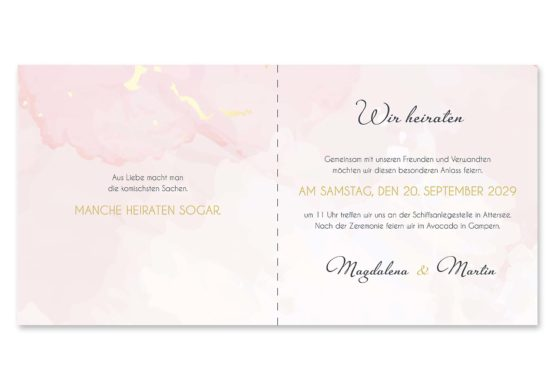 einladung vintage watercolor gold rosa aquarell hochzeitsgrafik onlineshop papeterie