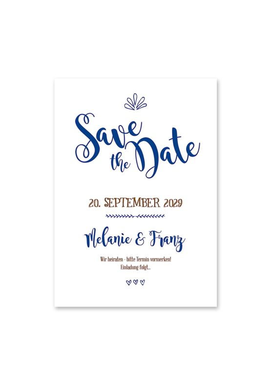 save the date vintage ornamente braun blau elemente hochzeitsgrafik onlineshop papeterie