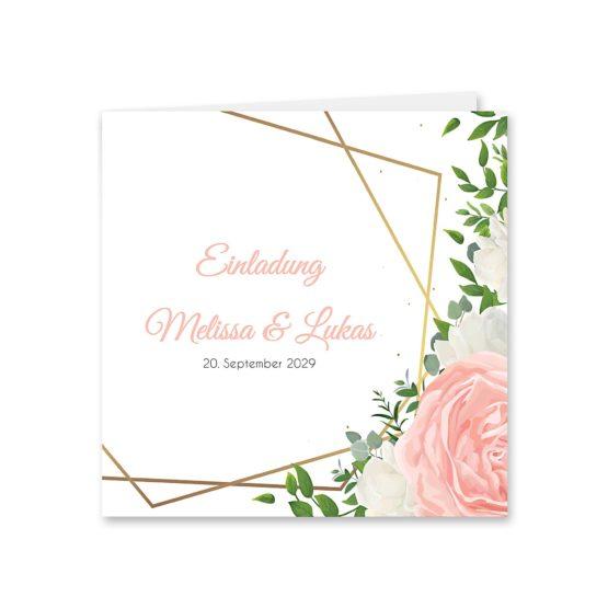 einladung elegant rosen rosa weiß grün geometrie gold hochzeitsgrafik onlineshop papeterie