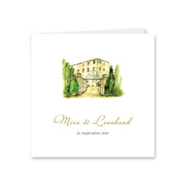 einladung vintage watercolor toskana villa tuscany gold aquarell acryl hochzeitsgrafik onlineshop papeterie
