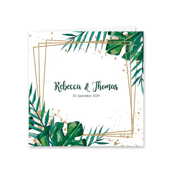 save the date aloha hawaii palmen monstera glitzer gold watercolor aquarell acryl rahmen geometrie hochzeitsgrafik onlineshop papeterie