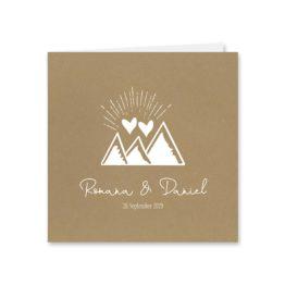 einladung vintage kraftpapier kraft braun weiß weißdruck logo monogram berg herz hochzeitsgrafik onlineshop papeterie