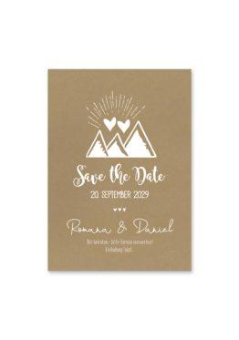 save the date vintage kraftpapier kraft braun weiß weißdruck logo monogram berg herz hochzeitsgrafik onlineshop papeterie