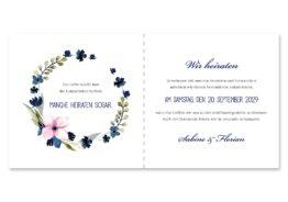 einladung vintage aquarell acyrl watercolor blumen kranz blau rosa hochzeitsgrafik onlineshop papeterie
