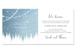 einladung vintage winter landschaft bäume baum schnee eisblau lichterketten hochzeitsgrafik onlineshop papeterie