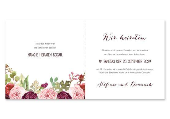 einladung vintage watercolor aquarell acryl blumen eucalyptus rosen rosa aubergine rot weinrot hochzeitsgrafik onlineshop papeterie
