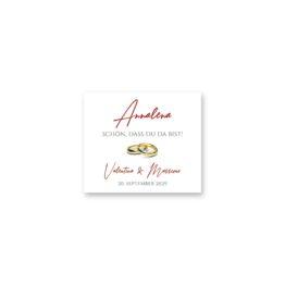 tischkarte einseitig elegant ornament rot ringe gold eheringe königlich kaiser hochzeitsgrafik onlineshop papeterie