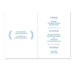 menükarte klappkarte hochzeit ornamente vintage blau hochzeitsgrafik onlineshop papeterie